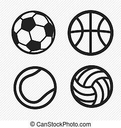 iconen, set, bal