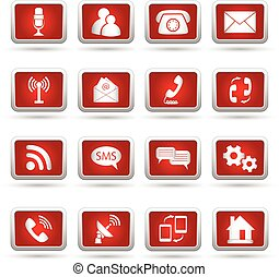 iconen, set, communicatie