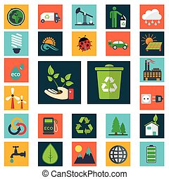 iconen, set, energie, groene, gaan, industrie