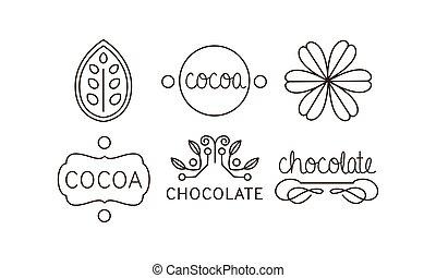 iconen, set, etiketten, illustratie, chocolade, cacao, vector, lijn, kentekens