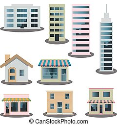 iconen, set, gebouw