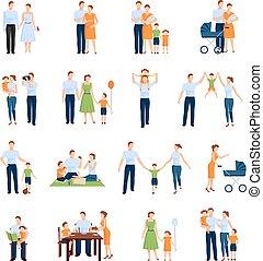 iconen, set, gezin