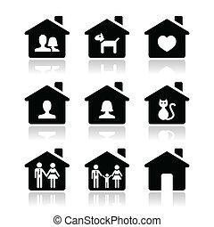 iconen, set, gezin, vector, thuis