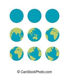 iconen,  Set,  globe, Vrijstaand,  flate,  Vector, Tekens & Borden, witte