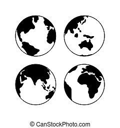 iconen,  Set,  globe, Vrijstaand,  Vector, Tekens & Borden, Aarde, witte