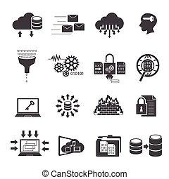 iconen, set, groot, gegevensverwerking, data, wolk