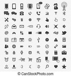 iconen, set., illustratie, beweeglijk