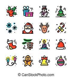 iconen, set, illustratie, vector, dune lijn, kerstmis