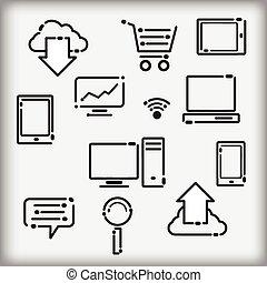 iconen, set, infographic