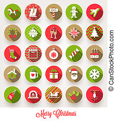 iconen, set, kerstmis, vector, plat