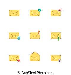 iconen, set, messages.