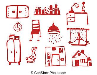 iconen, set, meubel, ontwerp, gekke