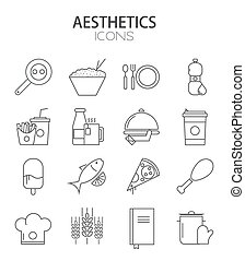 iconen, set., moderne, vector, ontwerp, lijn, mager, plat