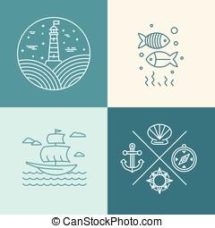 iconen, set, nautisch, vector