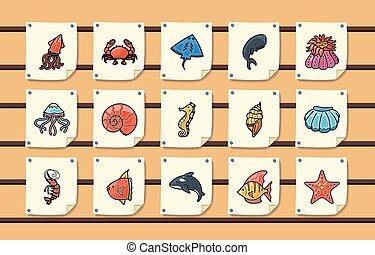 iconen, set, oceaan, eps10, marinier