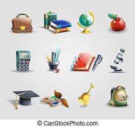 iconen, set, opleiding