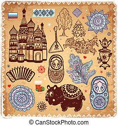 iconen, set, ouderwetse , russische