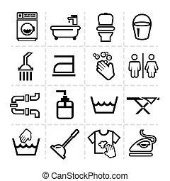 iconen, set, poetsen