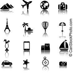 iconen, set, reizen