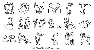 iconen, set, schets, misbruiken, violence, stijl