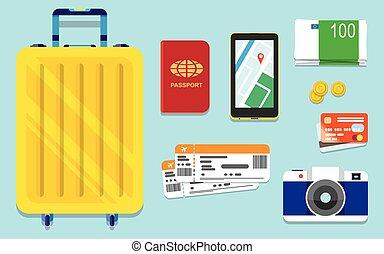 iconen, set, van, het reizen