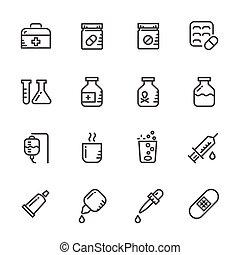 iconen, set, van, pills., vector, lijn, iconen