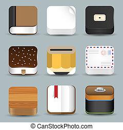iconen, set, vector, app