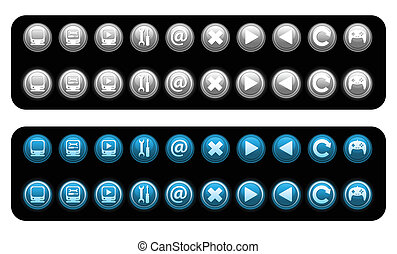 iconen, set, vector