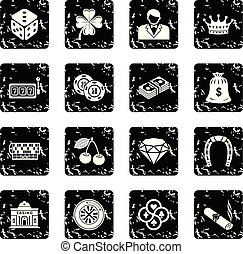 iconen, set, vector, grunge, casino