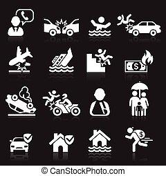 iconen, set., vector, illustration., verzekering