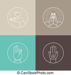 iconen, set, vector, lineair