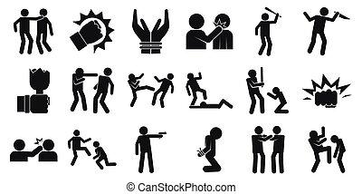 iconen, set, violence, stijl, eenvoudig