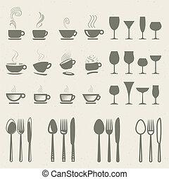 iconen, set, voedingsmiddelen, drank
