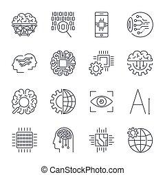 iconen, set, voor, kunstmatige intelligentie, ai, concept., kunstmatige intelligentie, ai, lijn, icons., innovatie, technologie, productiewerk, en, programming., editable, slag