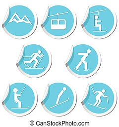 iconen, set, winter sport