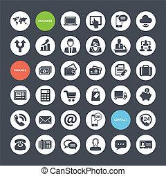 iconen, set, zakelijk