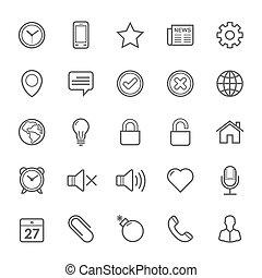 iconen, slag, algemeen, schets