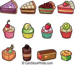 iconen, spotprent, set, taart