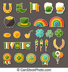 iconen, sticker, patrick's, heilige, dag, set.