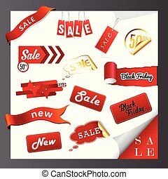 iconen, stickers., set, etiketten, verkoop