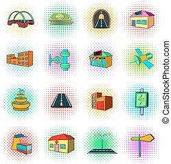 iconen, stijl, infrastructuur, set, pop-art, stedelijke