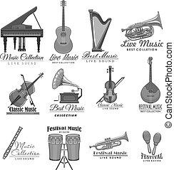 iconen, straatfeest, instrumenten, vector, muziek, muzikalisch