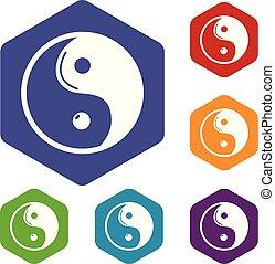 iconen, symbool, yin, vector, taoism, hexahedron, yang