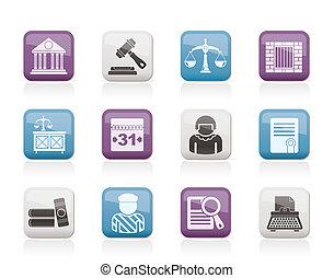 iconen, systeem, gerechtelijk, justitie