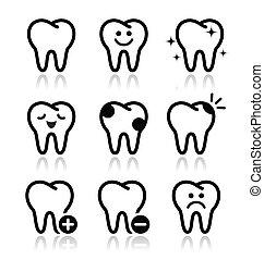iconen, tand, set, vector, teeth