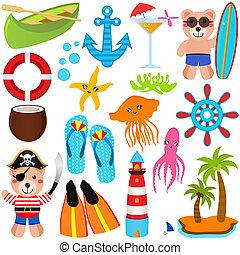 iconen, thema, beer, zomer, schattig, vector