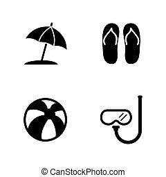 iconen, vacation., verwant, eenvoudig, accessoires, vector, strand
