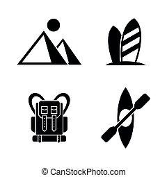 iconen, vacation., verwant, eenvoudig, vector, toerisme, actief