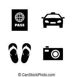 iconen, vacation., verwant, eenvoudig, vector, toerisme