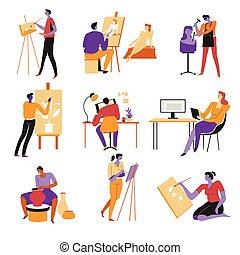 iconen, vakschilders, pottenbakker, kunstenaars, beeldhouwer...